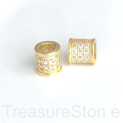 Pave Bead, gold, 8mm tube, Brass, CZ, hole, 5mm. Ea
