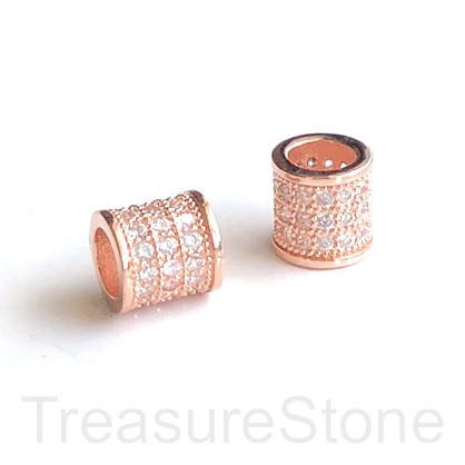 Pave Bead, rose gold, 8mm tube, Brass, CZ, hole, 5mm. Ea