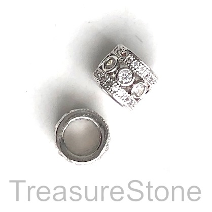 Pave Bead, 10x9mm tube, silver, large hole, 7mm. Ea