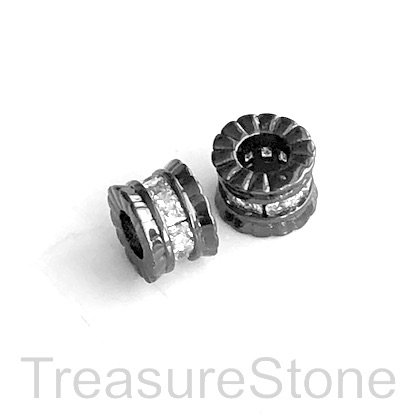 Pave Bead, brass, 6x9mm tube, black, clear CZ,large hole, 4mm.Ea