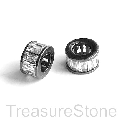 Pave Bead, brass, 5x9mm tube, black, clear CZ,large hole, 4mm.Ea