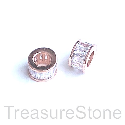 Pave Bead, 5x9mm tube, rose gold, clear CZ,large hole, 4mm.Ea