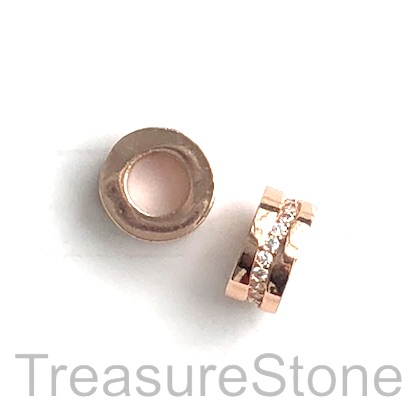 Pave Bead, 11x4mm tube, rose gold, large hole, 5mm. Ea