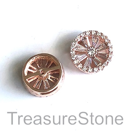 Micro Pave Bead, brass, rose gold, 12x5mm wheel. Each