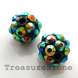 Pave beads(Resin Rhinestone). 2xAB on black.10mm. Pkg of 6.