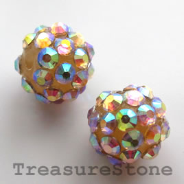 Pave beads(Resin Rhinestone). 2xAB on beige.12mm. pkg of 5.
