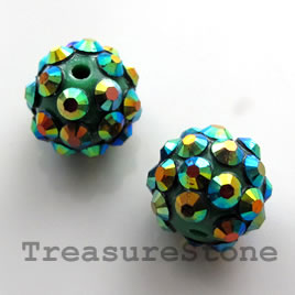 Pave beads(Resin Rhinestone). 2xAB on green.12mm. Pkg of 5.