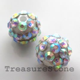 Pave beads(Resin Rhinestone). 2xAB on White.12mm. Pkg of 5.