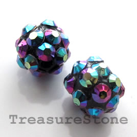Pave beads(Resin Rhinestone). AB on black.10mm. Pkg of 6.