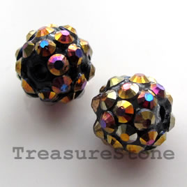 Pave beads(Resin Rhinestone). AB on black.12mm. Pkg of 5.