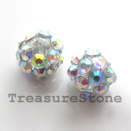 Pave round beads (Resin Rhinestone).AB on clear. 10mm. Pkg of 6.