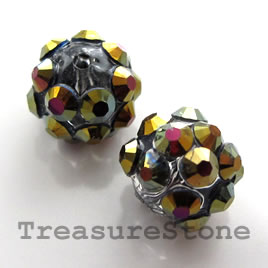 Pave round beads (Resin Rhinestone).AB on grey. 10mm. Pkg of 6.