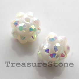 Pave beads(Resin Rhinestone). AB on white.10mm. Pkg of 6.