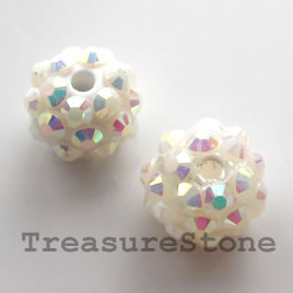 Pave round beads (Resin Rhinestone).AB on White. 12mm. Pkg of 5.