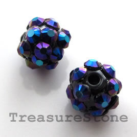 Pave beads(Resin Rhinestone). Blue AB on black.10mm. Pkg of 6.