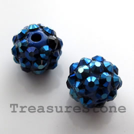 Pave round beads (Resin Rhinestone). Blue. 12mm. Pkg of 5.