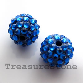 Pave round beads (Resin Rhinestone). Blue. 15mm. Pkg of 3.