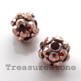 Pave round beads (Resin Rhinestone). Copper. 10mm.Pkg of 6.
