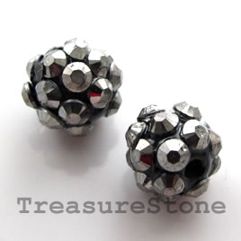 Pave beads(Resin Rhinestone). grey on black.10mm. Pkg of 6.