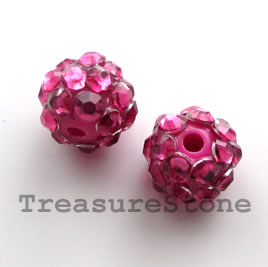 Pave round beads (Resin Rhinestone). Pink. 10mm. Pkg of 6.