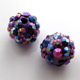 Pave round beads (Resin Rhinestone). Purple. 12mm. Pkg of 5.