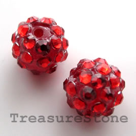 Pave round beads (Resin Rhinestone). Red. 12mm. Pkg of 5.