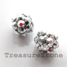 Pave round beads (Resin Rhinestone). Silver. 10mm. Pkg of 6.