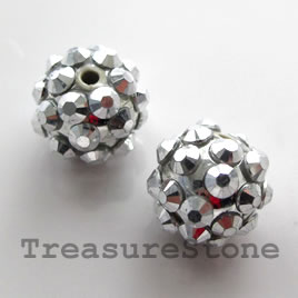 Pave round beads (Resin Rhinestone). Silver. 12mm. Pkg of 5.