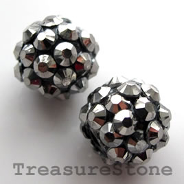 Pave beads(Resin Rhinestone). silver on black.12mm. Pkg of 5.
