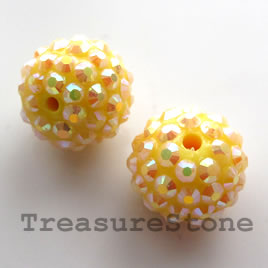Pave beads(Resin Rhinestone). Yellow.15mm. Pkg of 3.