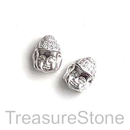 Pave Bead, 9x11mm silver buddha head 6, Cubic Zirconia. Each