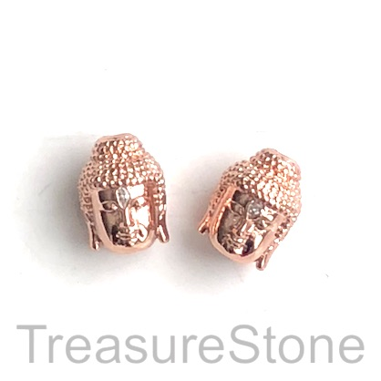 Pave Bead, 10x14mm rose gold buddha head 7, Cubic Zirconia. Each
