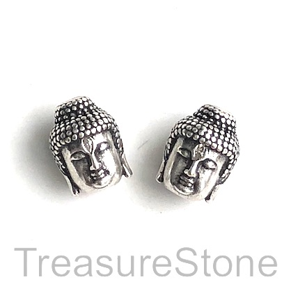 Pave Bead, 10x14mm silver buddha head 7, Cubic Zirconia. Each