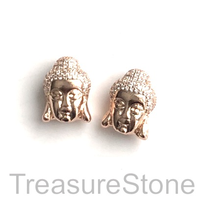 Pave Bead, 11x16mm rose gold buddha head 5, Cubic Zirconia. Each