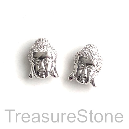 Pave Bead, 11x16mm silver buddha head 5, Cubic Zirconia. Each