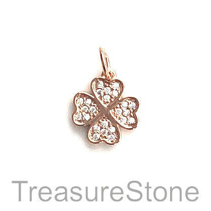 Charm, brass, rose gold, 11mm 4 leaf clover, Cubic Zirconia. Ea