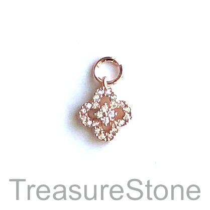 Charm, brass, rose gold, 9mm, Cubic Zirconia. Each