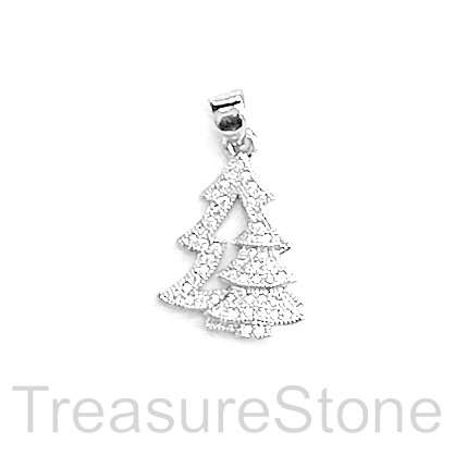 Pave charm, pendant, brass, 17mm silver, Christmas Tree, CZ. Ea