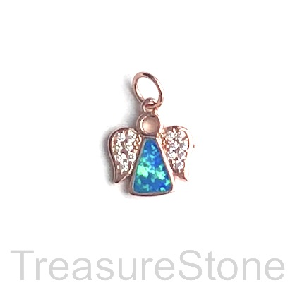 Pave Charm, 11mm rose gold angel, Cubic Zirconia, ea