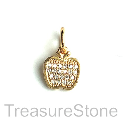 Pave Charm, brass, 10mm gold apple, Cubic Zirconia. Each