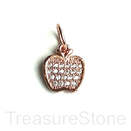 Pave Charm, brass, 10mm rose gold apple, Cubic Zirconia. Each