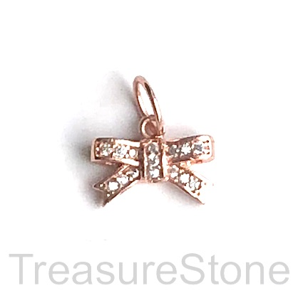 Pave Charm, 14x20 mm rose gold gift bow, Brass, CZ. Each
