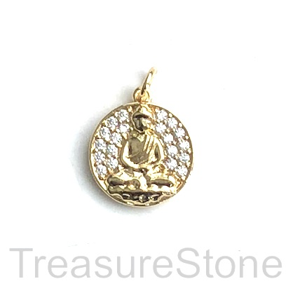 Pave Charm, brass, 14mm gold, buddha, CZ. Each