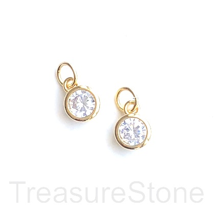 Charm, brass, 7mm gold, CZ. Ea