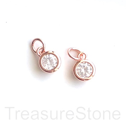 Charm, brass, 7mm rose gold, CZ. Ea