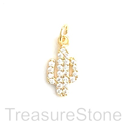 Pave Charm, brass, 12mm gold cactus, Cubic Zirconia. Ea