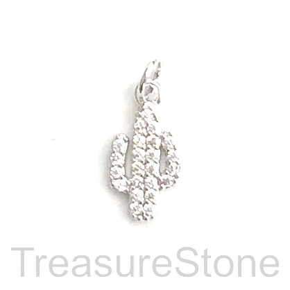 Pave Charm, brass, 12mm silver cactus, Cubic Zirconia. Ea