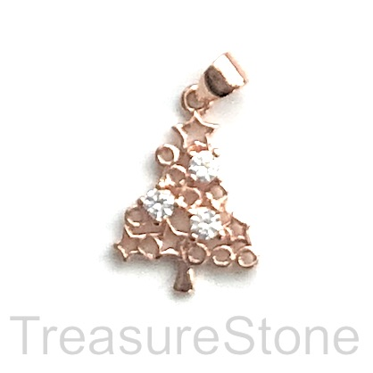 Pave Charm, 14x20 mm rose gold Christmas tree 2, Brass, CZ. Each
