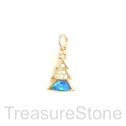 Pave Charm, brass, gold, 12mm Christmas Tree, CZ. Ea