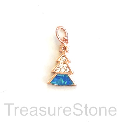 Pave Charm, brass, rose gold, 12mm Christmas Tree, CZ. Ea